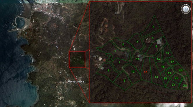 The Rancho Manuel Antonio development in relation to Quepos and Manuel Antonio. Lot #12 is our lot.